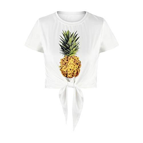 Frauen Sommer Kurzarm Rundhals Top 3D Obstpflanze Digitaldruck Bandage Halbes T-Shirt Frauen Mode Wilde Lose Sexy Nabel Rundhals Top (5,M)