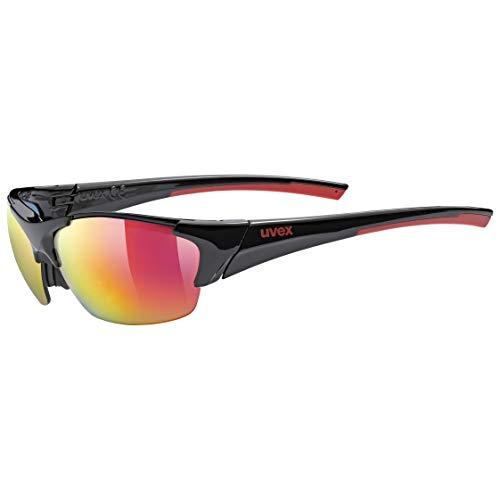 uvex Unisex– Erwachsene, blaze III Sportbrille, inkl. Wechselscheiben, black red mat/red, one size