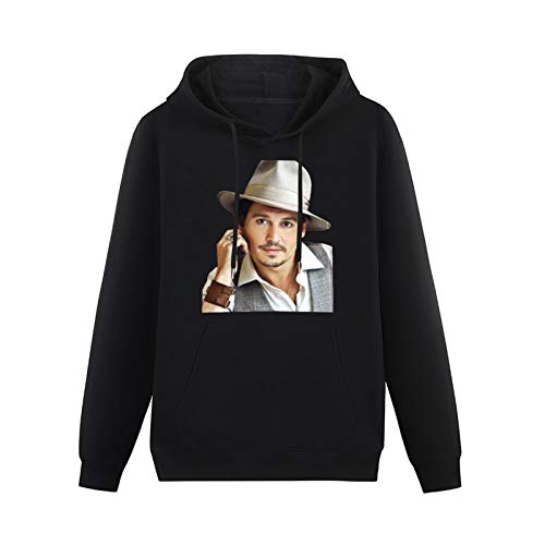 Mens Sweetheart Hot Topic Johnny Depp Hoodies Long Sleeve Pullover Loose Hoody Sweatershirt Size M Black