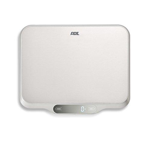 ADE Digitale Küchenwaage groß KE 1601 Ladina. Elektronische Waage mit großer Fläche aus Edelstahl für präzises Wiegen bis 15 kg. Mit Zuwiegefunktion (Tara), Auto-Hold. Inkl. Batterie. Silber