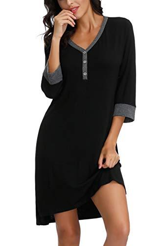 Zexxxy Nachthemd Damen Knöpfe V-Ausschnitt Nachkleider Nachthemden für Damen Nachtkleider Lang Schlafkleider Casual Kleid Schwarz XL