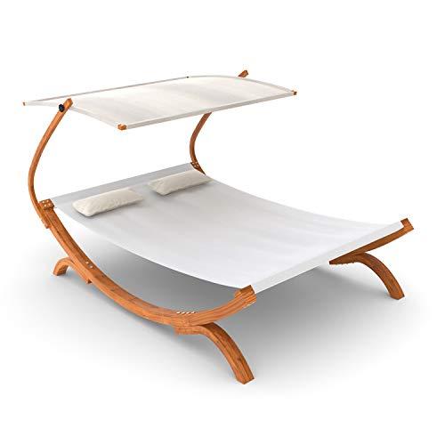 Ampel 24 Doppel-Sonnenliege Panama mit Dach Creme weiß, Gartenliege mit Holzgestell wetterfest, Sonnendach verstellbar, Doppelliege mit Kissen