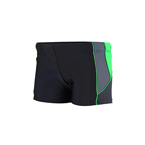 Aquarti Jungen Kurze Badehose mit Einsätze Seitlich, Farbe: Schwarz/Graphit/Grün, Größe: 146