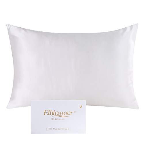 Ethlomoer Kissenbezug aus 100% natürlicher Reiner Seide für Haar und Haut, beidseitig 19 Momme, 600 Fadenzahl, Design mit verstecktem Reißverschluss, 1 Stück 40x60cm Elfenbein