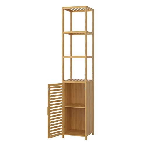 Homfa Bambus Standregal schmal Hochschrank verstellbar Badezimmerschrank mit 3 Ablagen Badregal mit Schrank für Küche Wohnzimmer Badezimmer 33x33x169cm