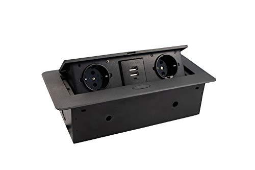 Gedotec Einbausteckdose Küche & Schreibtisch - Kombibox DL10007 | Doppel-Steckdose 2 x Schuco-Stecker + 2-fach USB | Tischsteckdose Schwarz | Unterbau-Steckdose mit Soft-Closing Klappdeckel | 1 Stück