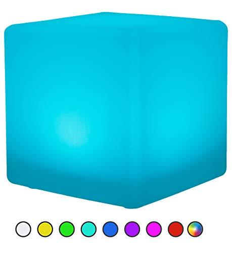 Bonetti LED Solar Gartenleuchte Würfel / Cube / 8 Farben / optionaler Farbwechsel / ca. 30 x 30 cm / IP67 / RGB / Würfel Solarlampe / Dekoleuchte / Außenleuchte / Gartenlampe / Würfelleuchte / Dekowürfel (30 cm - Würfel)