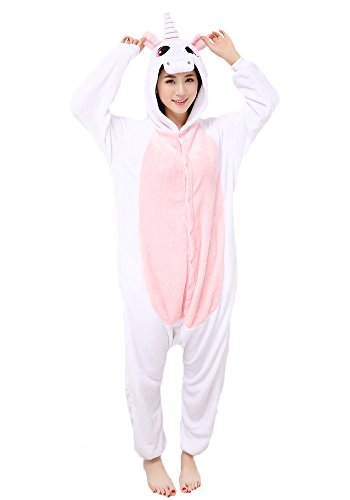Einhorn Pyjamas Jumpsuit Kostüm Tier Schlafanzug Cosplay Karneval Fasching (Einhorn), Pink, Gr. M: für Höhe 158-167