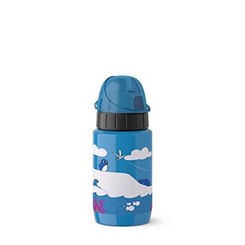 Emsa 518359 Trinkflasche Drink2Go Light Steel | 0,4 L | Edelstahl | Auto-Close Verschluss | 100% auslaufsicher & spülmaschinenfest | Robust & federleicht | Penguin