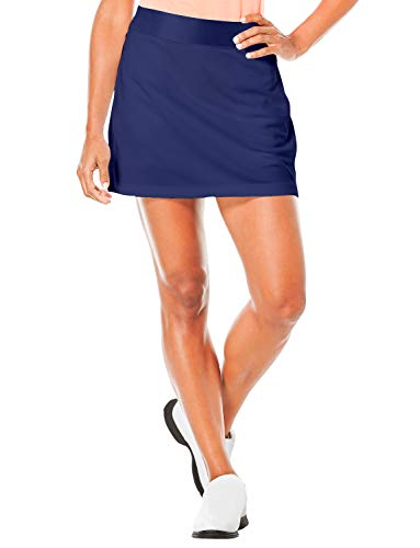 TAIPOVE Damen Rock Sport mit Innenshorts Tasche Laufrock Basic Einfarbig, Blau, XL