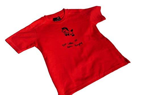 Das Leben ist kein Ponyhof. Bio T-Shirt Kind, 7-9 oder 10-12 Jahre, rot. Mit Handsiebdruck.