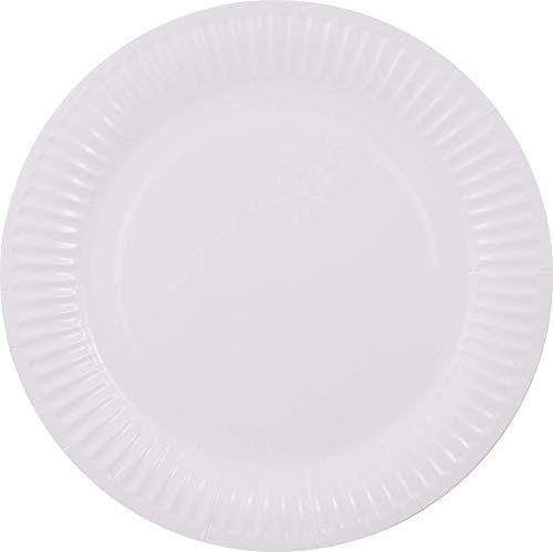 Pritogo Pappteller, Ø 23cm, 350g/m² Stabil, Beschichtet, Kein Aufweichen, Weiß, Rund, Hohe Qualität - 50/100/500/1000 Stück (50 Stück)