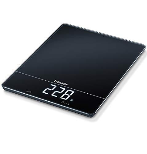 Beurer KS 34 Küchenwaage, für präzises Wiegen bis 15 kg, mit Tara-Zuwiegefunktion und Magic LED-Display, schwarz