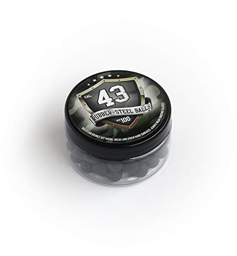 100 x Premium Hard Mix Rubber Steel Balls Paintballs Reballs 43 Cal. HDR T4E RAM Hard Gummi Stahl Kugel für Training Schutz