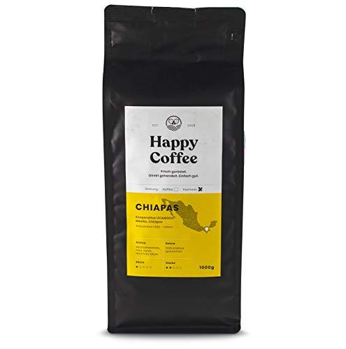 HAPPY COFFEE Bio Espressobohnen 1kg [Chiapas] I Frische fair-trade Kaffeebohnen direkt aus Mexiko I Arabica Kaffee ganze Bohnen I Ideal für Vollautomat und Siebträger