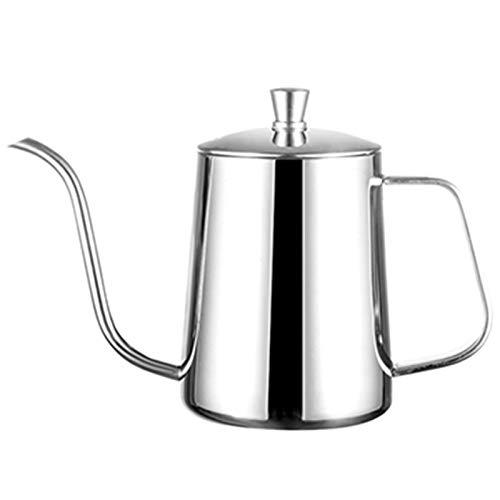 Lopbinte Edelstahl Halterung Hand Punch Topf Kaffee Kannen Mit Deckel Tropf Schwanenhals Auslauf Langer Mund Kaffee Kessel Teekanne Silber 600Ml