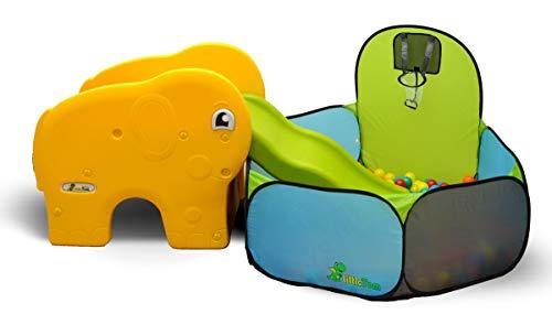 LittleTom Bällebad mit Rutsche für Kinder ab 1 Jahr - Kinderrutsche mit Bällepool - 200 Baby Bälle
