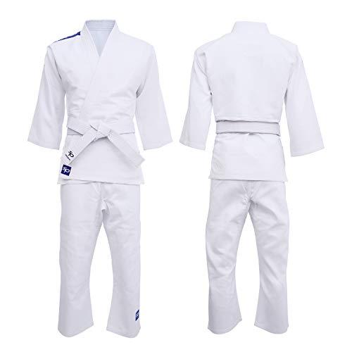 Starpro Kinder Judo Uniform Anzug - Kostüm gut für Karate Kit MMA Kampfsport Grappling Kimono Kampf Wrestling Jiu Jitsu Taekwondo 250gm | 100-170 cm Weiß Gi Anzug für Junioren kommt mit Gürtel