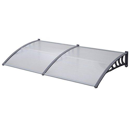 SVITA Vordach Tür-Dach Überdachung transparent Schutz vor Niederschlag und Witterung (80 x 200 cm, Grau)