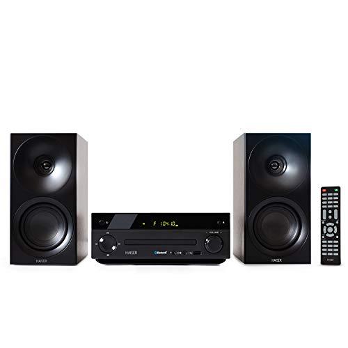 HAISER HSR 118 | 40 Watt RMS mit • CD Player • Bluetooth • USB • Boxen • FM Radio | Stereoanlage Kompaktanlage Musikanlage HiFi Anlagen Mini Anlage Microanlage Mini Stereoanlage Soundanlage TE