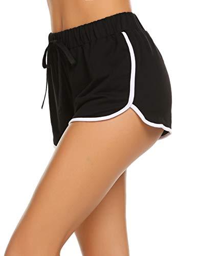 Avidlove Damen Kurze Hose Shorts Schlafanzughose Schlafhose Yoga Sporthose Running Gym Beiläufige Elastische Shorts, Schwarz, Gr. XXL(48)