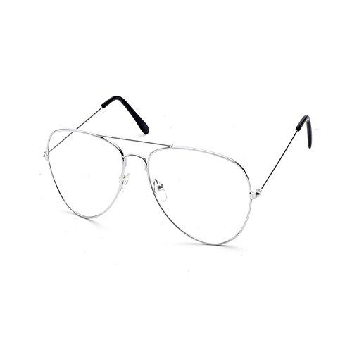 Vintage Pilotenbrille Metallrahmen Fensterglas Brille Ohne Stärke Durchsichtig Nerdbrille Sonnenbrille mit Nasenpad Retro Winddicht Sonne Brille Damen Herren