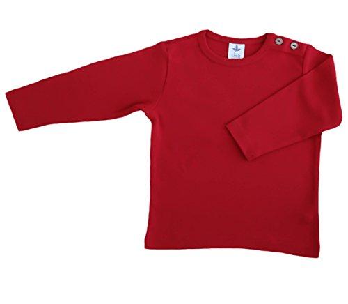Baby Kinder Langarmshirt Bio-Baumwolle GOTS 13 Farben T-Shirt Shirt Jungen Mädchen Gr. 50/56 bis 140 (62-68, rot-zigel)