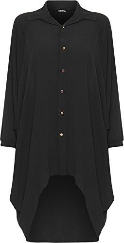 WearAll Damen Übergröße Batwing Hemd Kleid Lang Hülle Tauchen Saum Hi Es Schaltfläche Kragen Damen - Schwarz - 44-46