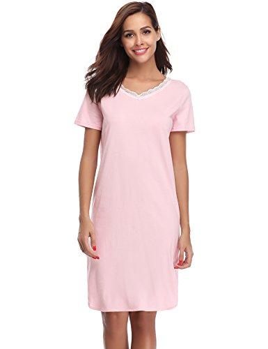 Hawiton Damen Nachthemd Kurz Baumwolle Spitze Nachtwäsche Nachtkleid Negligee Sleepshirt Kurzarm für Sommer Rosa L