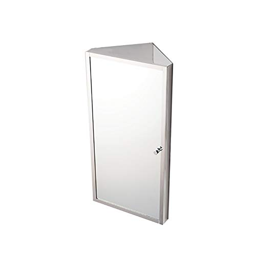 Bathroom mirror cabinet Edelstahl Ecke Badezimmerspiegelschrank Dreieck Locker Wandschrank Mehrzweck Küche Medizin Speicherorganisator Mit Spiegel, 11.81