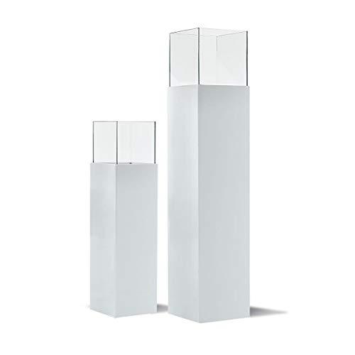 Pureday Windlicht-Säule hochglänzend Outdoor Glas Kunstoff-Alluminium-Verbund