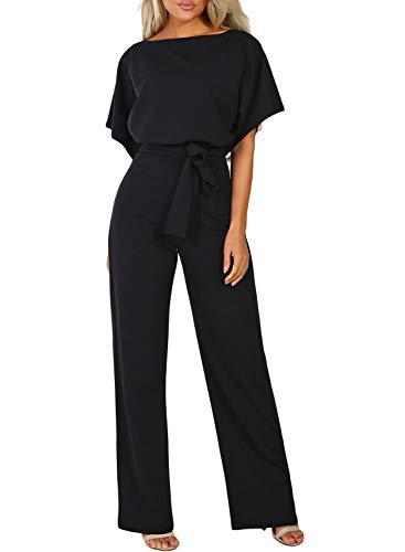 Happy Sailed Damen Langarm O-Ausschnitt Elegant Lang Jumpsuit Overall Hosenanzug Playsuit Romper S-XL, schwarz, Large (EU44-EU46)