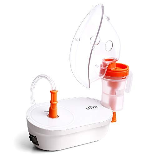 SIMBR Inhalator Vernebler, Compact Tragbar Inhalationsgeräte mit Mundstück und Maske für Baby und Erwachsene, Wirksam zur Behandlung von Atemwegserkrankungen