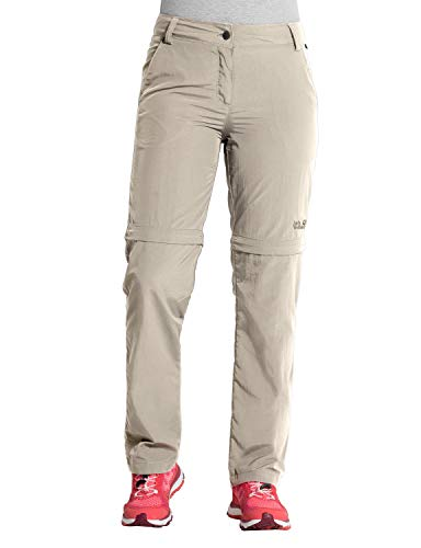 Jack Wolfskin Damen Marrakech Zip Off Pants UV-Schutz Outdoor Schnelltrocknend Freizeit, Reisehose Hose, Light Sand, 46