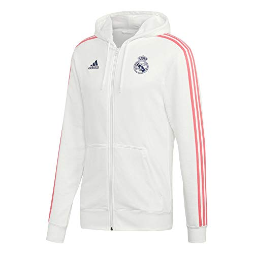 Adidas Real Madrid Saison 2020/21 Jacke mit Reißverschluss und Kapuze, offizielle Kollektion, für Erwachsene XXXL weiß