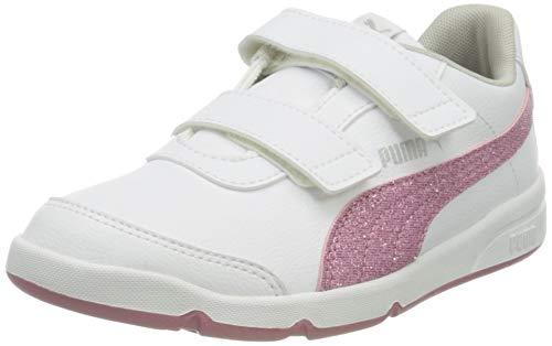 PUMA Mädchen Stepfleex 2 Sl Ve Glitz Fs V P Sneaker, White-Foxglove-Gray Violet Silver, 28 EU