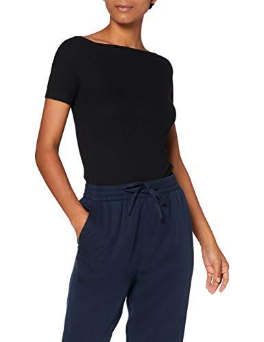 Amazon-Marke: MERAKI Damen T-Shirt mit U-Boot-Ausschnitt, Schwarz (Black), 40, Label: L