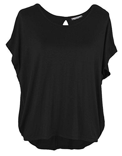 Emma & Giovanni Damen Basic Sommer T-Shirt/Oberteile Kurzarm, Schwarz, Gr.- DE 36-38 (Herstelleretikett M)