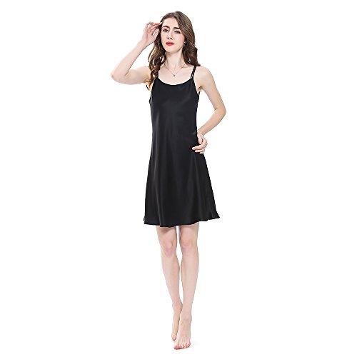 LilySilk Bezaubernd Seide Nachthemd Nachtkleid Nachtwäsche Damen Mini Kurz 16 Momme Schwarz L Verpackung MEHRWEG