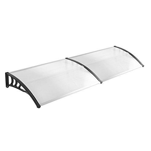 LZQ 300 x 100cm Vordach Türdach Pultbogenvordach Überdachung Polycarbonat Transparentes weiß Haustür Überdachung Haustürvordach Pultvordach - diverse Größen- diverse Farbe (300 x 100cm, Schwarz)