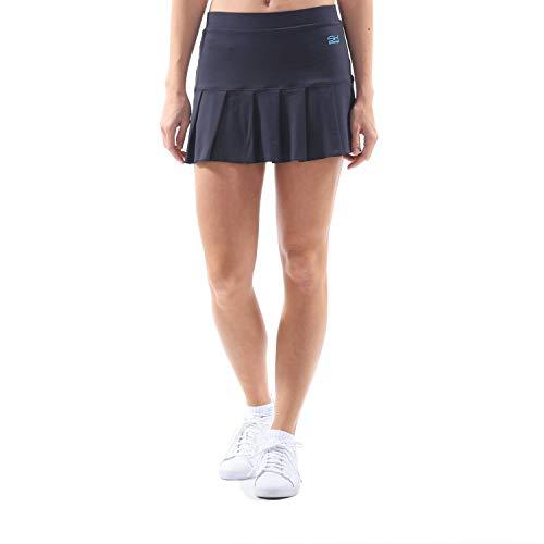 Sportkind Mädchen & Damen Tennis, Hockey, Golf Faltenrock mit Innenhose, atmungsaktiver Skort, UV-Schutz, Navy blau, Gr. 116