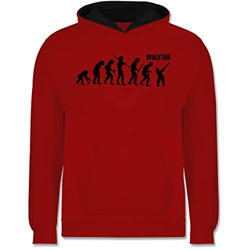 Shirtracer Evolution Kind - Cricket Evolution - 104 (3/4 Jahre) - Rot/Schwarz - Darwin - JH003K - Kinder Kontrast Hoodie