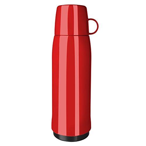 Emsa 518517 Rocket Isolierflasche, 0,9 Liter, 12h heiß, 24h kalt, mit doppelwandigem Isolierkolben aus Glas, BPA frei, rot