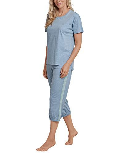 Schiesser Damen Anzug 3/4, 1/2 Arm Zweiteiliger Schlafanzug, Blau (Jeans-Mel. 831), 40