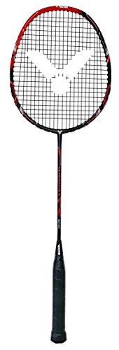 VICTOR Badmintonschläger Ultramate 6 für Einsteiger aus Carbon und Aluminium, Matt Schwarz/Rot,