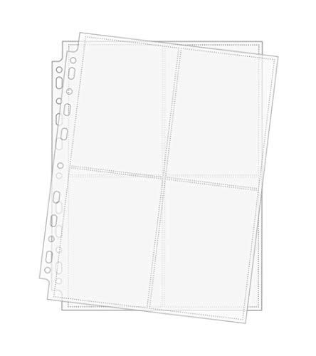 Arkero-G® 50 Seiten 4-Pocket Photo Pages - A4 Foto-Hüllen & Post-Karten Hüllen 4 x A6 hoch für Sammel-Album z.B Basteln Schule Büro Aufbewahrung