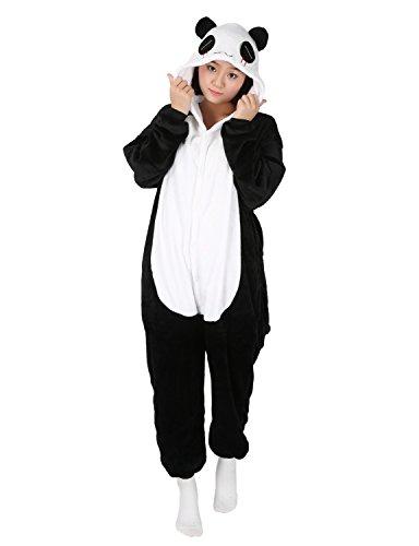 Jumpsuit Tier Pyjama Damen Lang Winter Karton Fasching Halloween Pinguin Kostüm Sleepsuit Cosplay Flanell-Overall Pyjama Schlafanzug Erwachsene Unisex (Panda, XL(Höhe:175-184CM))