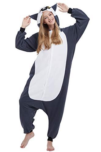 Jumpsuit Onesie Tier Karton Fasching Halloween Kostüm Sleepsuit Cosplay Overall Pyjama Schlafanzug Erwachsene Unisex Lounge, Long Tail Affe 1, Erwachsene Größe L - für Höhe 168-177CM