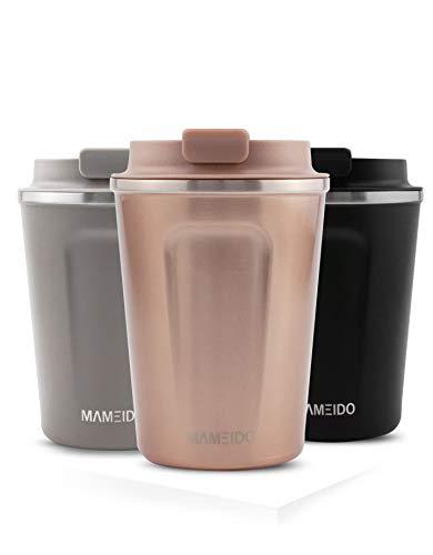 MAMEIDO Thermobecher Rosegold 350ml 0,35l - Kaffeebecher, Edelstahl doppelwandig isoliert, auslaufsicher, Coffee to go, Kaffee & Tee Isolierbecher Travel Mug