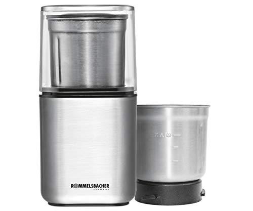 ROMMELSBACHER Gewürz und Kaffee Mühle EGK 200 - 2 Edelstahlbehälter mit Schlagmesser & Spezialmesser, Füllmenge 70 g, Mahlgrad über Mahldauer wählbar, auch für Pesto, Gewürze, Nüsse, Zucker, 200 Watt